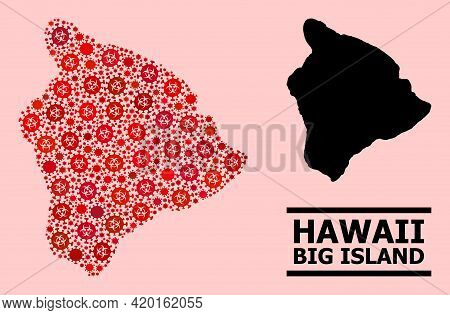 Vector Covid-2019 Composition Map Of Hawaii Big Island Organized For Hospital Applications. Red Mosa