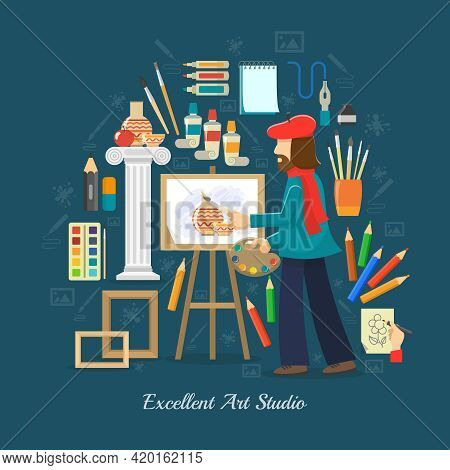 Artist Studio Concept With Flat Painting Tools And Painter Symbols Vector Illustration