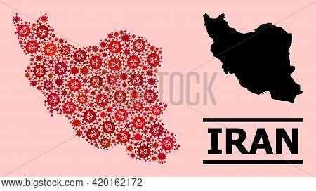 Vector Coronavirus Mosaic Map Of Iran Created For Doctor Purposes. Red Mosaic Map Of Iran Is Created