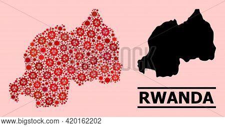 Vector Covid Mosaic Map Of Rwanda Done For Clinic Posters. Red Mosaic Map Of Rwanda Is Designed Of B