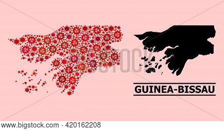 Vector Coronavirus Mosaic Map Of Guinea-bissau Combined For Pandemic Advertisement. Red Mosaic Map O