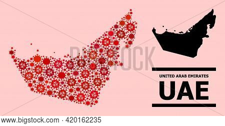 Vector Covid-2019 Mosaic Map Of United Arab Emirates Designed For Lockdown Applications. Red Mosaic