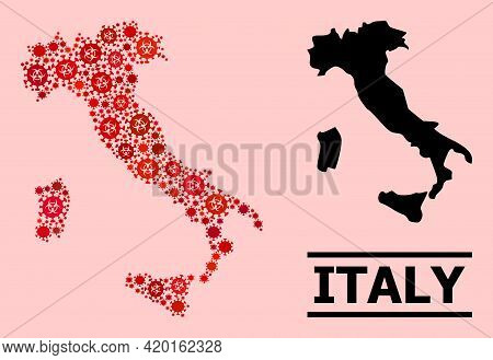 Vector Covid Mosaic Map Of Italy Organized For Medicare Advertisement. Red Mosaic Map Of Italy Is Co