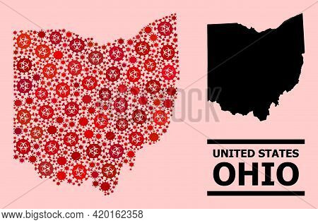 Vector Covid-2019 Mosaic Map Of Ohio State Created For Hospital Purposes. Red Mosaic Map Of Ohio Sta