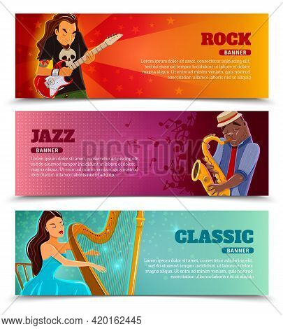 Rock Festival Jazz And Classic Music Concert With Performing Harpist Flat Banners Set Abstract Isola