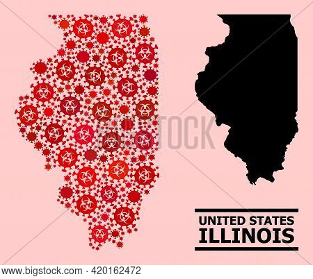 Vector Covid-2019 Composition Map Of Illinois State Organized For Pharmacy Illustrations. Red Mosaic
