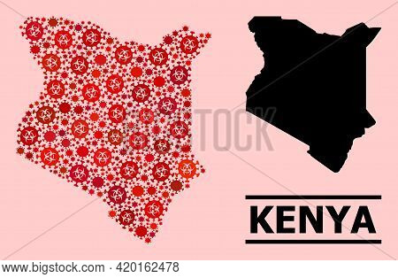 Vector Covid Mosaic Map Of Kenya Organized For Vaccination Applications. Red Mosaic Map Of Kenya Is