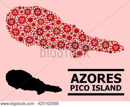 Vector Covid Mosaic Map Of Pico Island Done For Vaccination Posters. Red Mosaic Map Of Pico Island I