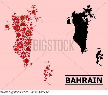 Vector Covid-2019 Collage Map Of Bahrain Organized For Pandemic Illustrations. Red Mosaic Map Of Bah