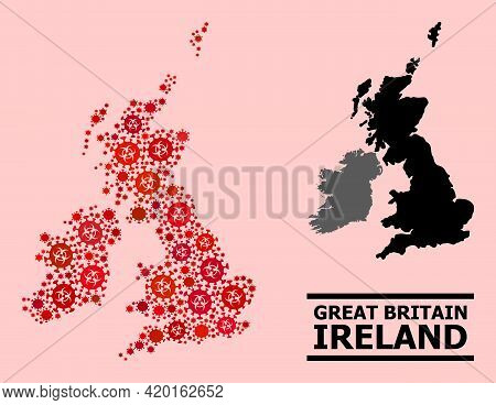 Vector Covid-2019 Mosaic Map Of Great Britain And Ireland Combined For Lockdown Purposes. Red Mosaic