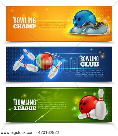 Bowling Horizontal Banners Set With Bowling Champ Club And Leagues Symbols Realistic Isolated Vector