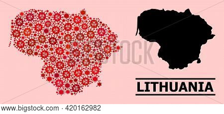 Vector Covid-2019 Mosaic Map Of Lithuania Done For Hospital Advertisement. Red Mosaic Map Of Lithuan