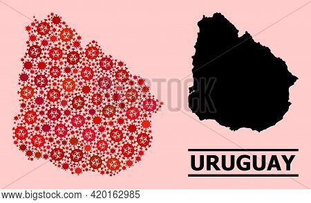 Vector Covid-2019 Collage Map Of Uruguay Constructed For Clinic Illustrations. Red Mosaic Map Of Uru