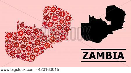 Vector Covid-2019 Composition Map Of Zambia Organized For Pandemic Illustrations. Red Mosaic Map Of