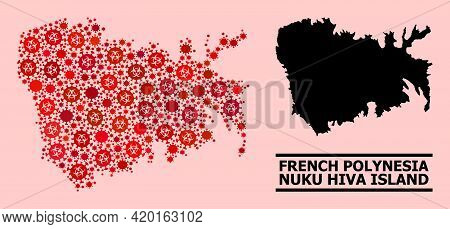 Vector Covid-2019 Collage Map Of Nuku Hiva Island Organized For Hospital Illustrations. Red Mosaic M