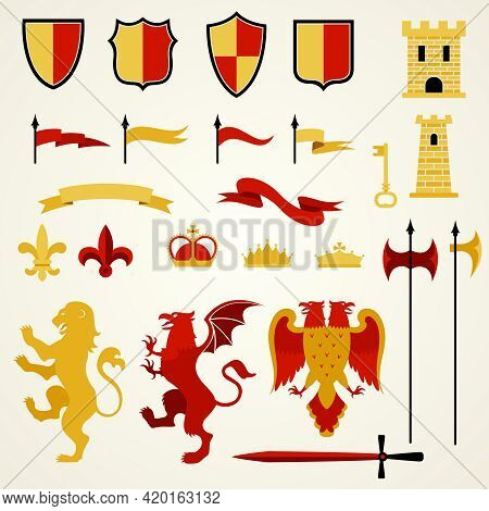 Heraldic Elements And Emblems Set With Lion Two-headed Eagle And Sword Flat Isolated Vector Illustra
