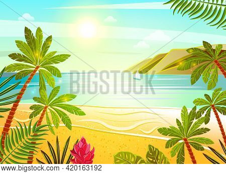 Tropical Beach Exotic Summer Vacation Travel Poster With Sea View Palms And Flowers Flat Abstract Ve