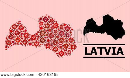 Vector Coronavirus Mosaic Map Of Latvia Combined For Health Care Wallpapers. Red Mosaic Map Of Latvi