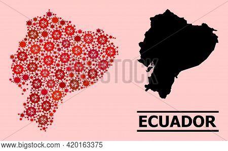 Vector Coronavirus Mosaic Map Of Ecuador Combined For Pandemic Wallpapers. Red Mosaic Map Of Ecuador