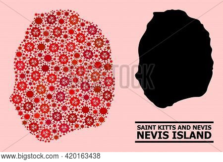 Vector Covid-2019 Collage Map Of Nevis Island Combined For Health Care Posters. Red Mosaic Map Of Ne