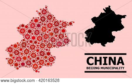 Vector Covid-2019 Composition Map Of Beijing Municipality Organized For Health Care Applications. Re