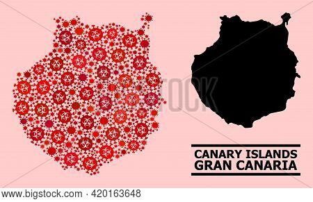Vector Covid Composition Map Of Gran Canaria Done For Clinic Illustrations. Red Mosaic Map Of Gran C