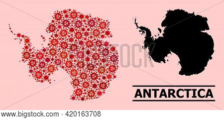 Vector Covid Mosaic Map Of Antarctica Organized For Pharmacy Illustrations. Red Mosaic Map Of Antarc