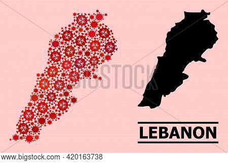 Vector Covid Mosaic Map Of Lebanon Organized For Health Care Posters. Red Mosaic Map Of Lebanon Is C