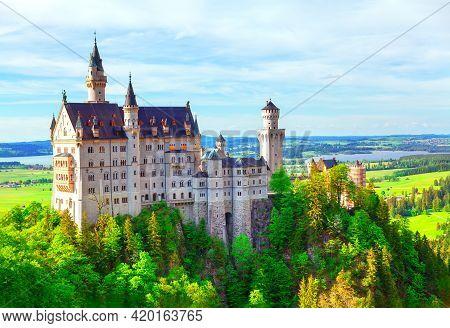 Fairytale Castle In Germany . Neuschwanstein Castle . 19th-century Historical Palace In Fussen Bavar