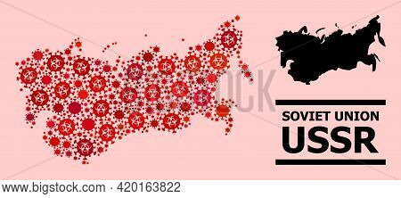 Vector Covid Mosaic Map Of Ussr Organized For Pharmacy Advertisement. Red Mosaic Map Of Ussr Is Comp