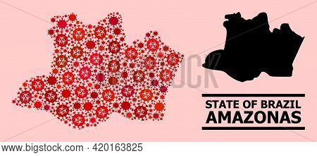Vector Covid-2019 Mosaic Map Of Amazonas State Created For Lockdown Wallpapers. Red Mosaic Map Of Am
