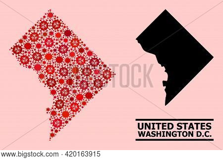 Vector Covid-2019 Collage Map Of Washington Dc Created For Pandemic Wallpapers. Red Mosaic Map Of Wa