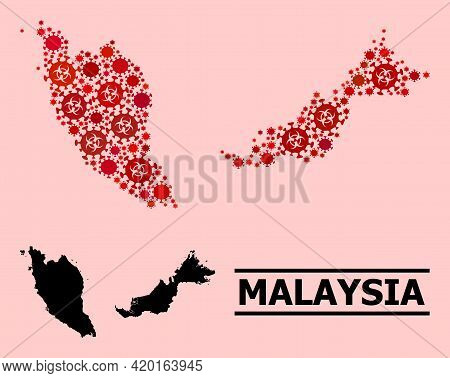 Vector Covid Mosaic Map Of Malaysia Designed For Pharmacy Applications. Red Mosaic Map Of Malaysia I