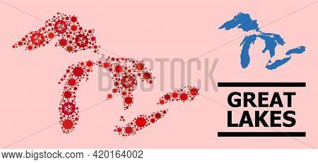Vector Covid-2019 Mosaic Map Of Great Lakes Designed For Lockdown Illustrations. Red Mosaic Map Of G