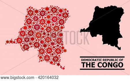 Vector Covid-2019 Mosaic Map Of Democratic Republic Of The Congo Designed For Health Care Posters.