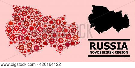 Vector Coronavirus Collage Map Of Novosibirsk Region Constructed For Pandemic Projects. Red Mosaic M