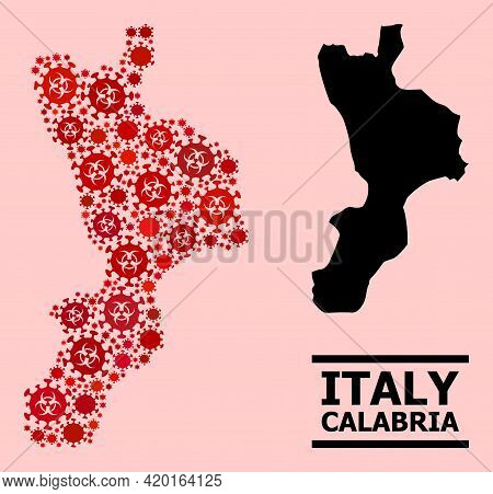 Vector Coronavirus Collage Map Of Calabria Region Created For Vaccination Posters. Red Mosaic Map Of