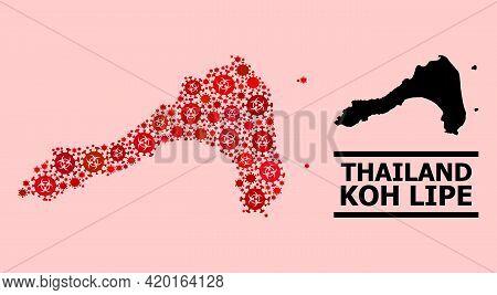 Vector Covid Mosaic Map Of Koh Lipe Constructed For Clinic Wallpapers. Red Mosaic Map Of Koh Lipe Is