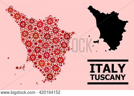 Vector Covid-2019 Mosaic Map Of Tuscany Region Designed For Clinic Illustrations. Red Mosaic Map Of