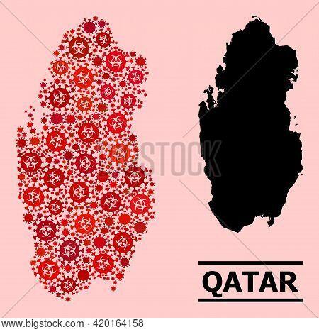 Vector Coronavirus Mosaic Map Of Qatar Done For Doctor Advertisement. Red Mosaic Map Of Qatar Is For