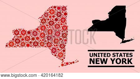 Vector Covid Mosaic Map Of New York State Done For Pharmacy Illustrations. Red Mosaic Map Of New Yor