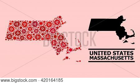 Vector Covid-2019 Mosaic Map Of Massachusetts State Organized For Lockdown Wallpapers. Red Mosaic Ma