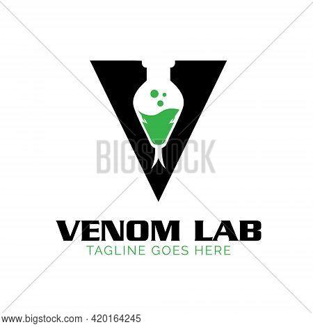 Letter V Venom  Lab Logo, Lab Jar Combined With Snake Head Concept.