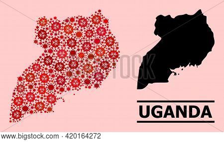 Vector Covid-2019 Mosaic Map Of Uganda Done For Lockdown Projects. Red Mosaic Map Of Uganda Is Compo
