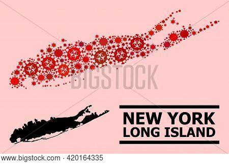 Vector Covid-2019 Collage Map Of Long Island Organized For Health Care Purposes. Red Mosaic Map Of L