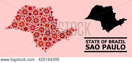 Vector Covid Mosaic Map Of Sao Paulo State Organized For Clinic Applications. Red Mosaic Map Of Sao