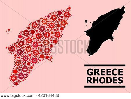 Vector Covid-2019 Mosaic Map Of Rhodes Island Organized For Hospital Applications. Red Mosaic Map Of