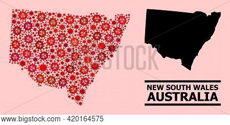 Vector Covid-2019 Mosaic Map Of New South Wales Organized For Medicare Advertisement. Red Mosaic Map