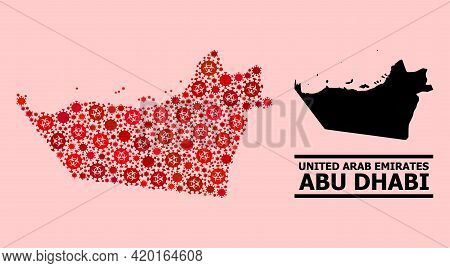 Vector Covid-2019 Mosaic Map Of Abu Dhabi Emirate Combined For Pandemic Wallpapers. Red Mosaic Map O
