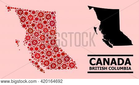 Vector Covid-2019 Mosaic Map Of British Columbia Province Organized For Hospital Posters. Red Mosaic